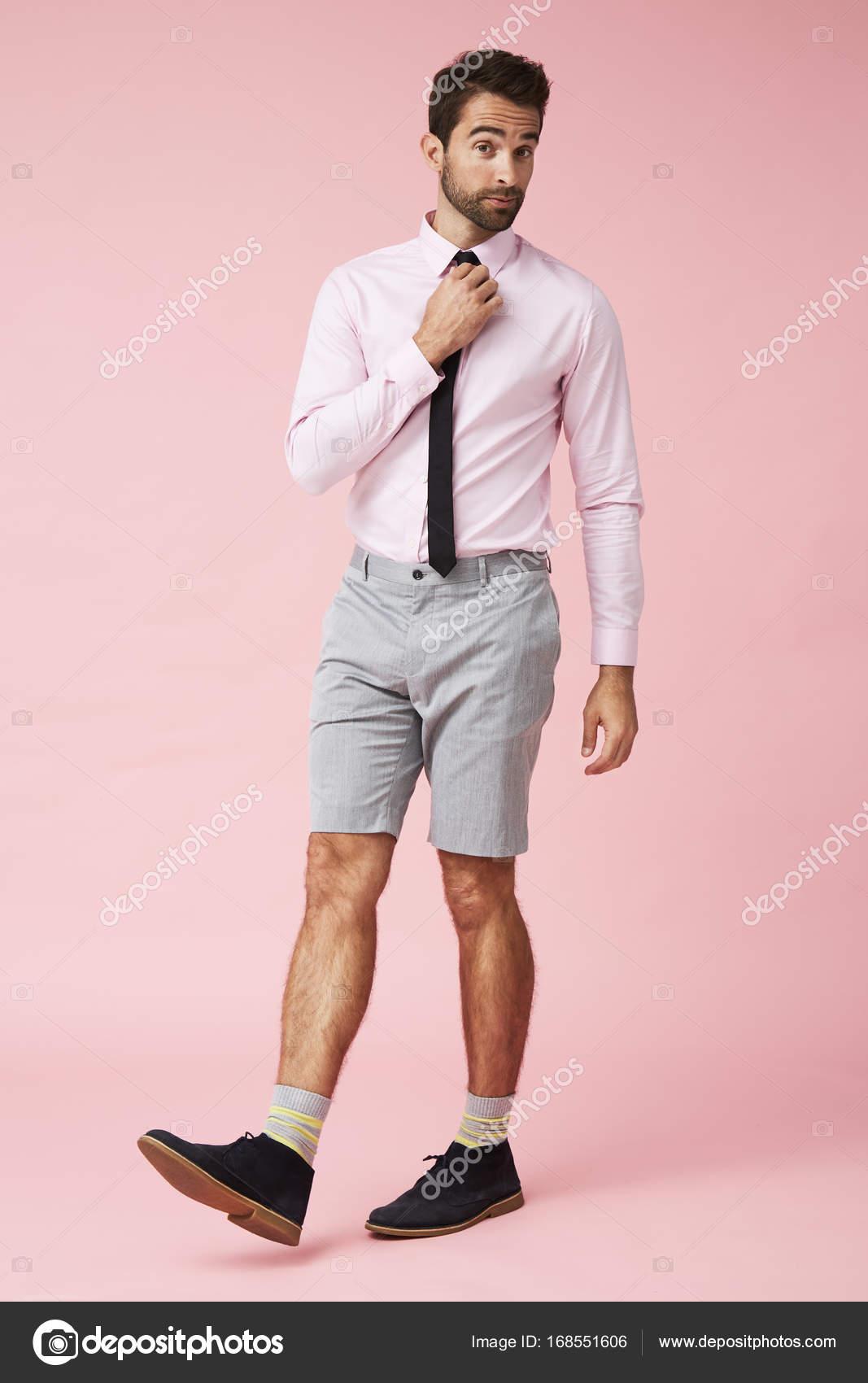 Hombre Stock De Pantalones — Foto Y Corbata Cortos Guapo Con SzVMqUp