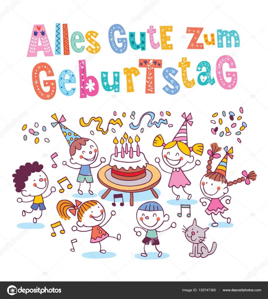 Alles Gute Zum Geburtstag Deutsch German Happy Birthday Kids Greeting Card Stock Illustration