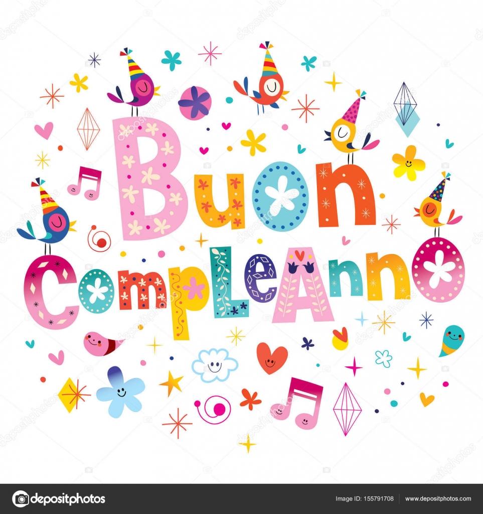 Buon Compleanno Joyeux Anniversaire En Italien Carte De Voeux