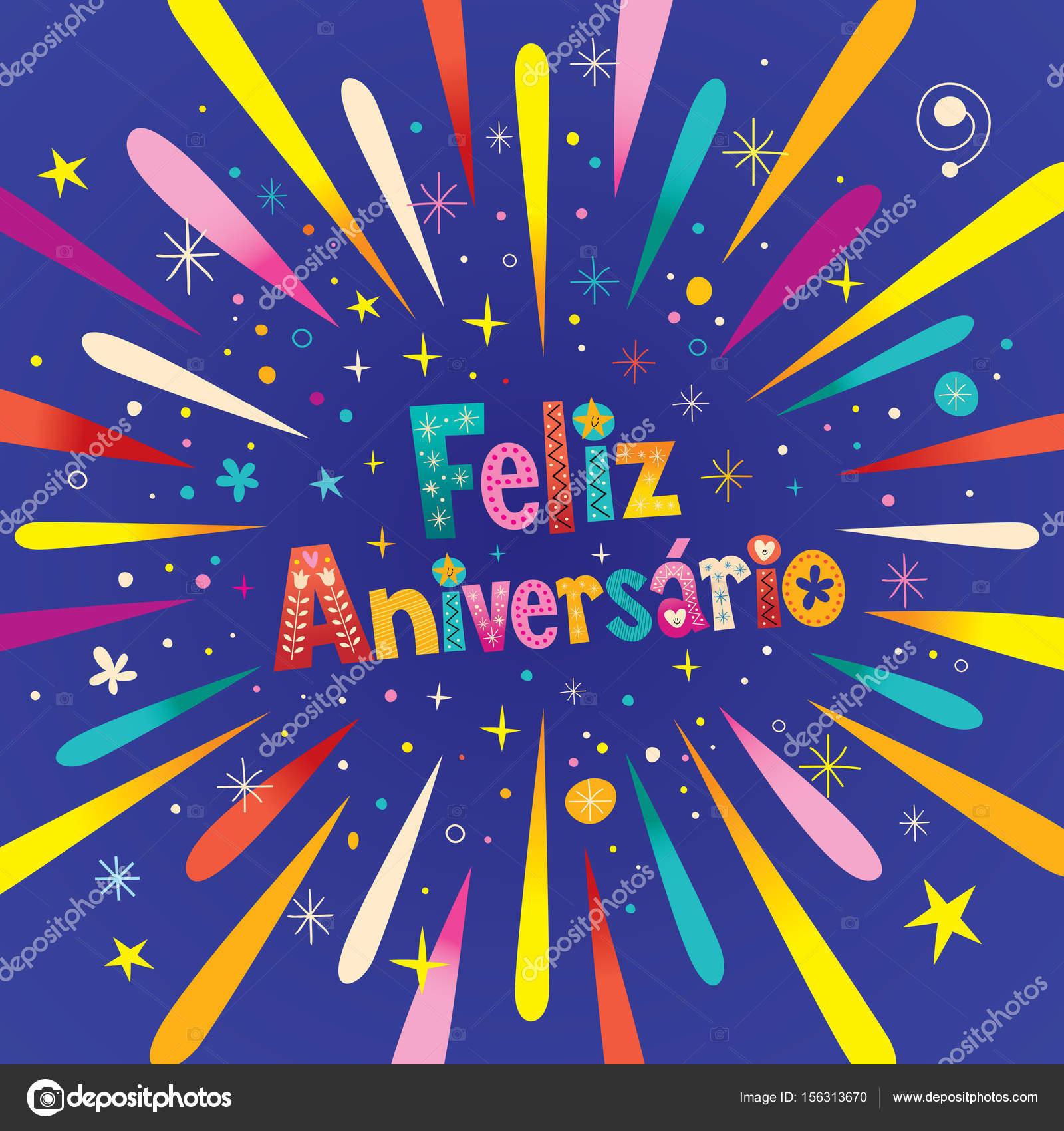gefeliciteerd met je verjaardag in het portugees Feliz Aniversario Portugese Happy Birthday — Stockvector  gefeliciteerd met je verjaardag in het portugees