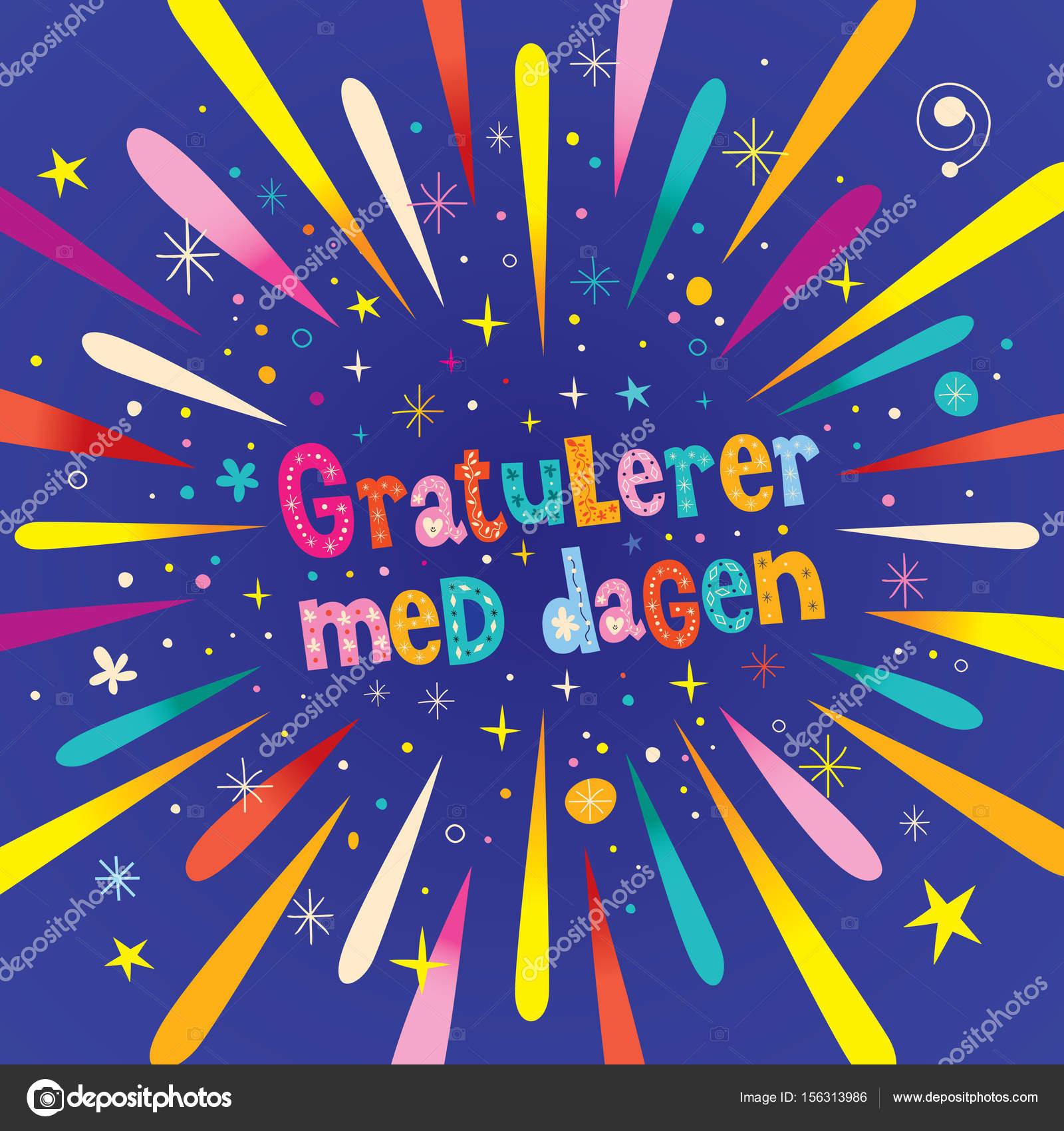 grattis på födelsedagen på norska Gratulerer med dagen Grattis i norska — Stock Vektor © Aliasching  grattis på födelsedagen på norska