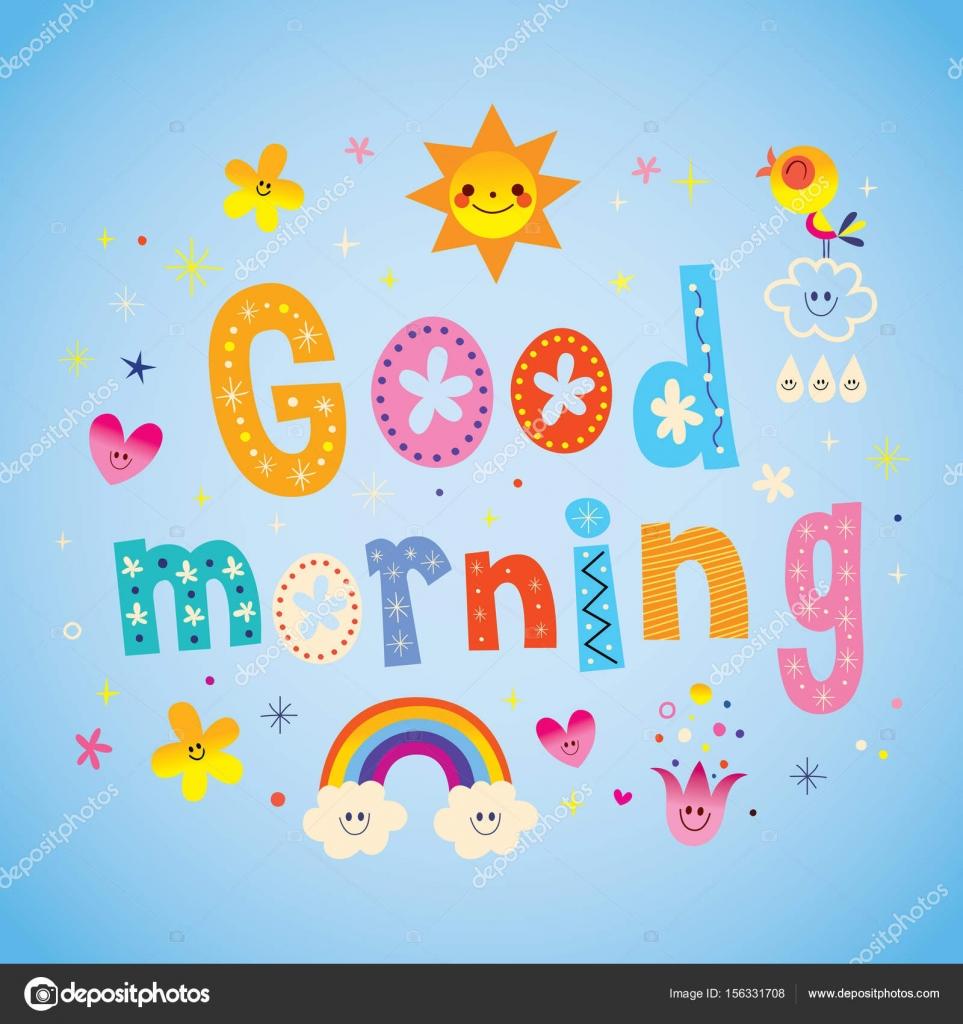 Guten Morgen Grußkarte Stockvektor Aliasching 156331708