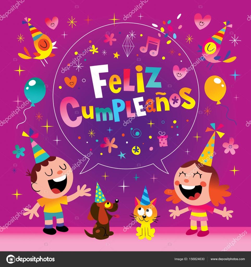 grattis på födelsedagen spanska Feliz Cumpleanos   Grattis i spanska barn gratulationskort — Stock  grattis på födelsedagen spanska