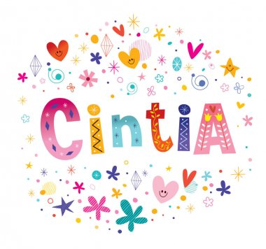 Cintia female name decorative lettering type design