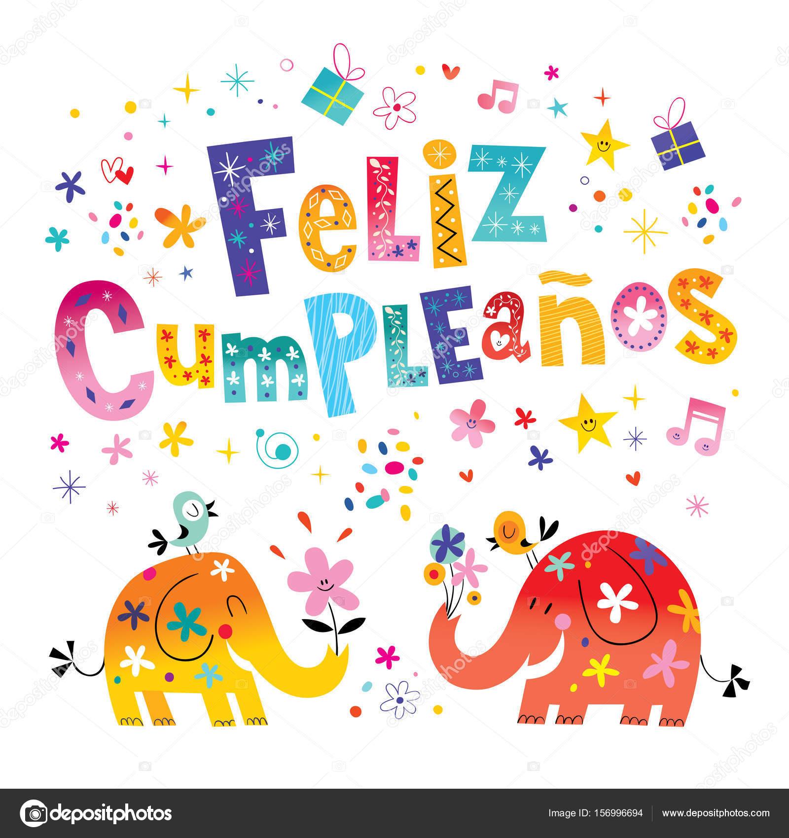 Feliz cumpleanos happy birthday in spanish greeting card with cute feliz cumpleanos happy birthday in spanish greeting card with cute elephants stock vector bookmarktalkfo Images