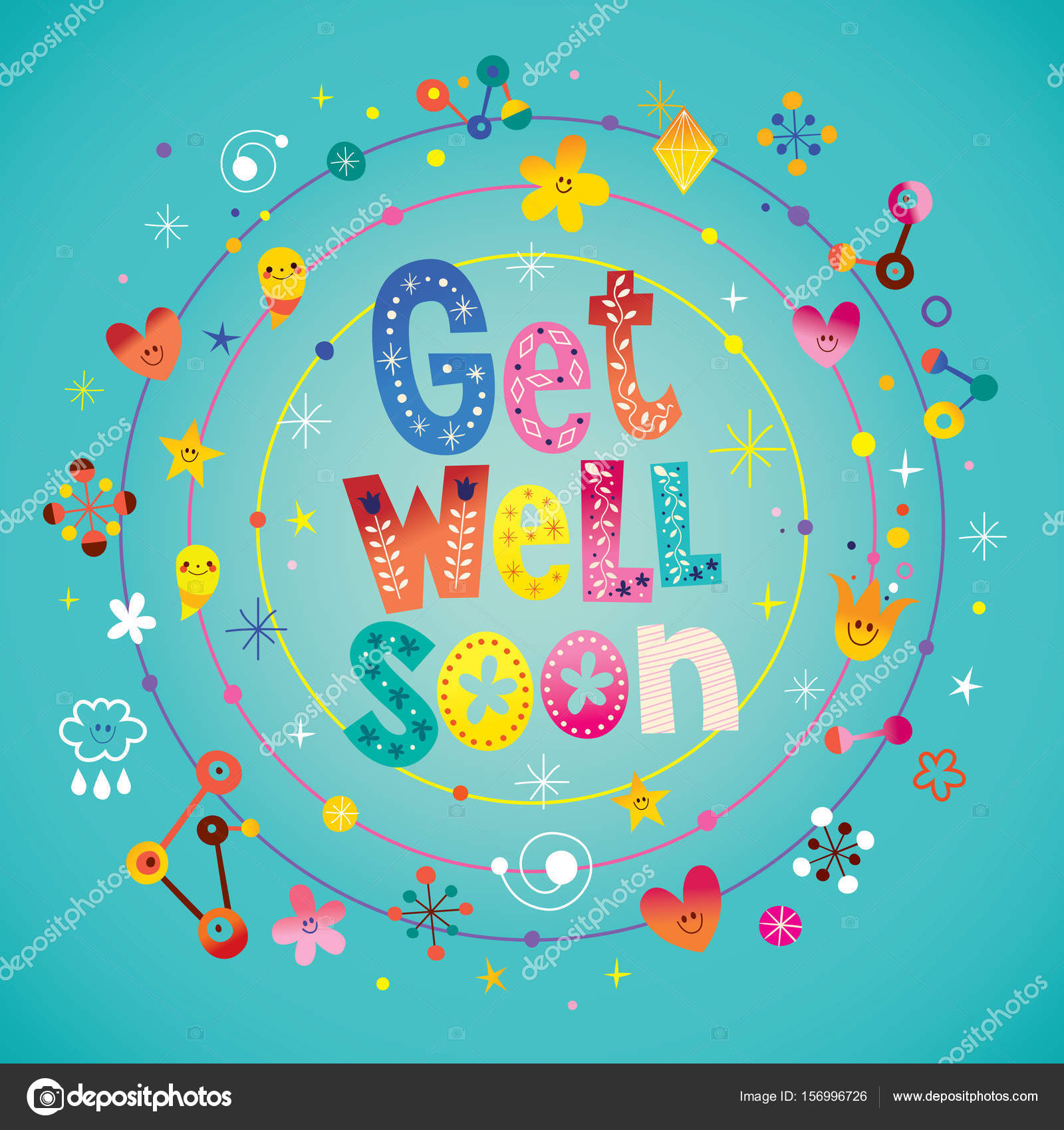 Get Well Soon Greeting Card Stock Vector Aliasching 156996726