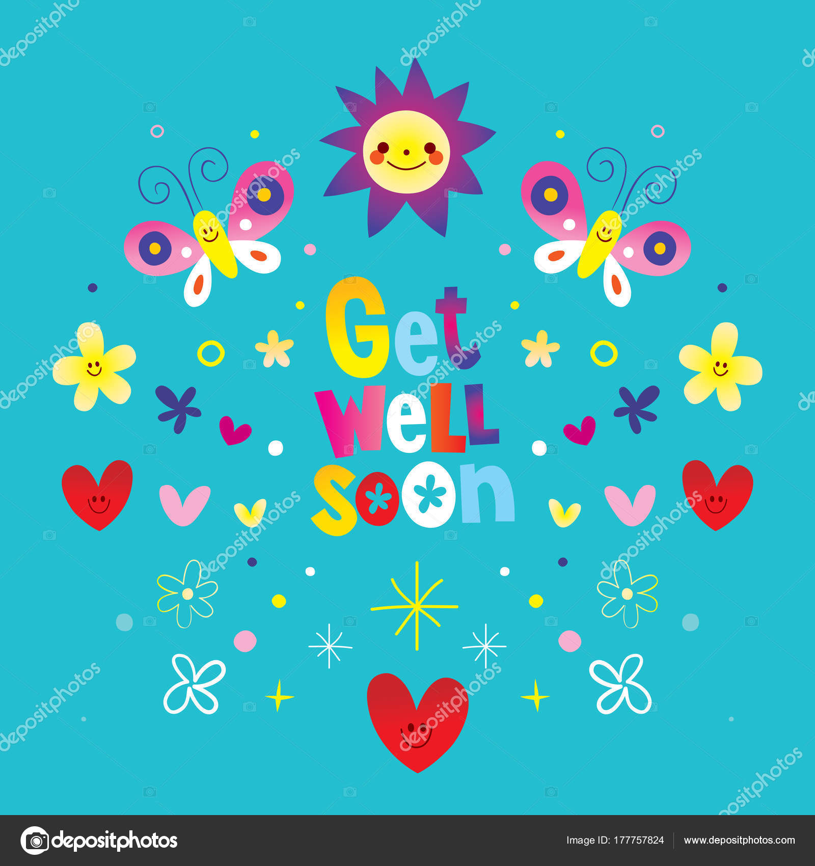 Get Well Soon Greeting Card Stock Vector Aliasching 177757824