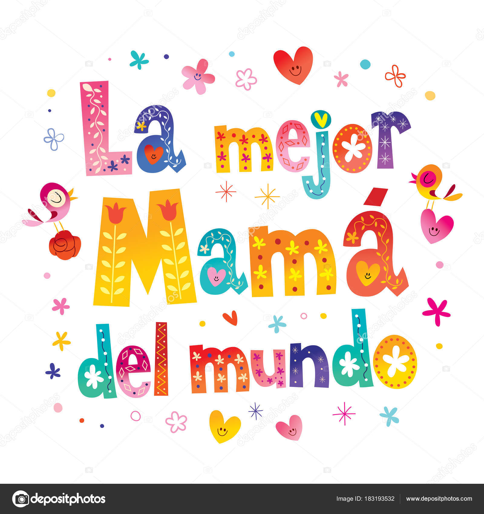mejor mam del mundo best mom world spanish stock vector