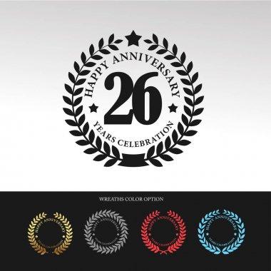 Black Laurel wreath 26 Anniversary