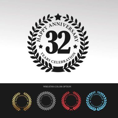 Black Laurel wreath 32 Anniversary