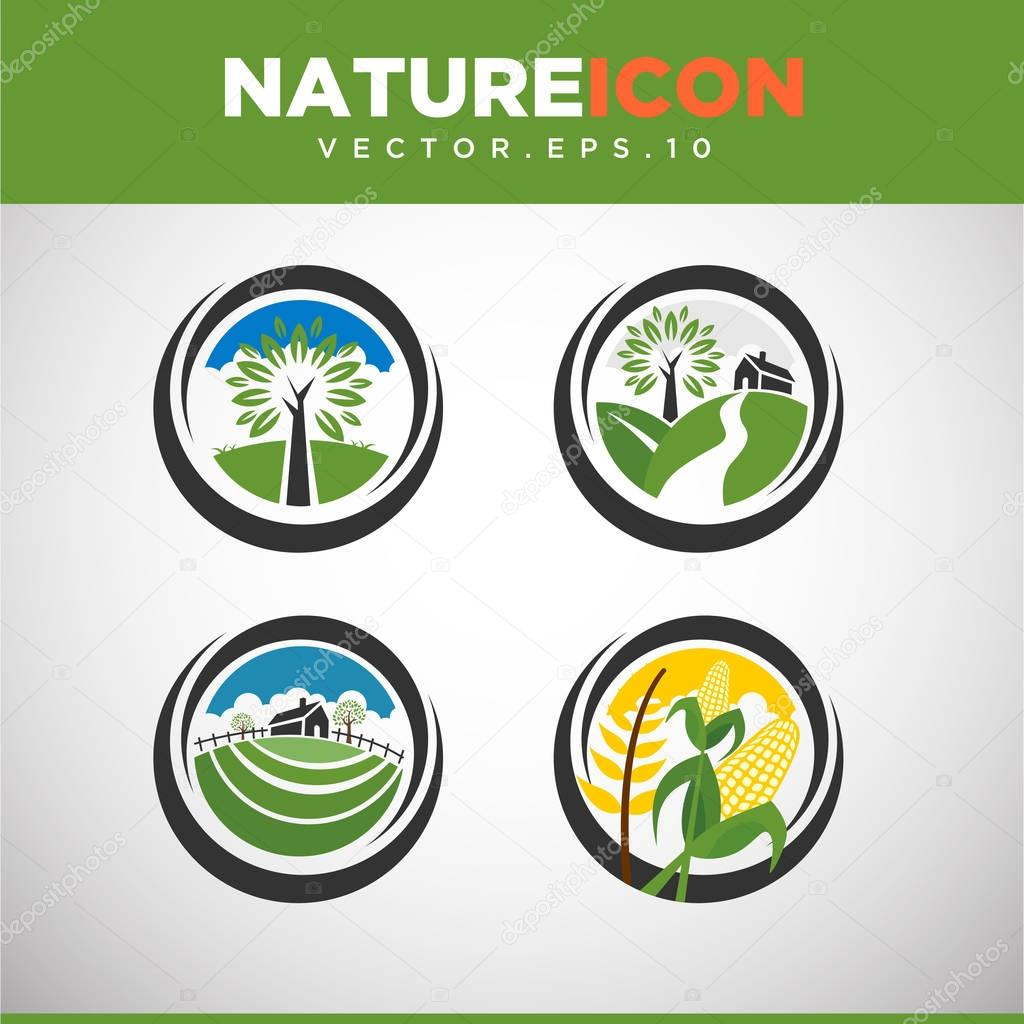 set of circle nature icons