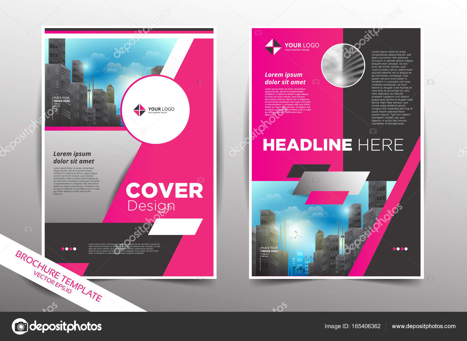 pamphlet design template with city background stock vector yugra