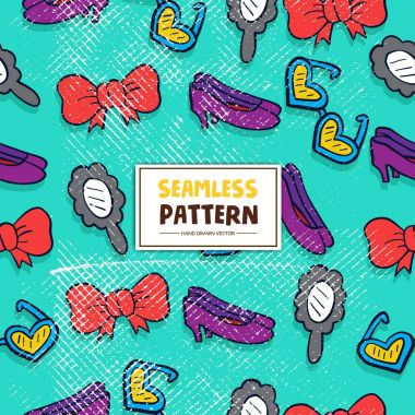 seamless pattern with bows, sunglasses, female shoes and mirror, vector illustration