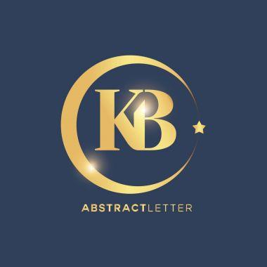 kb golden badge logo vector illustration