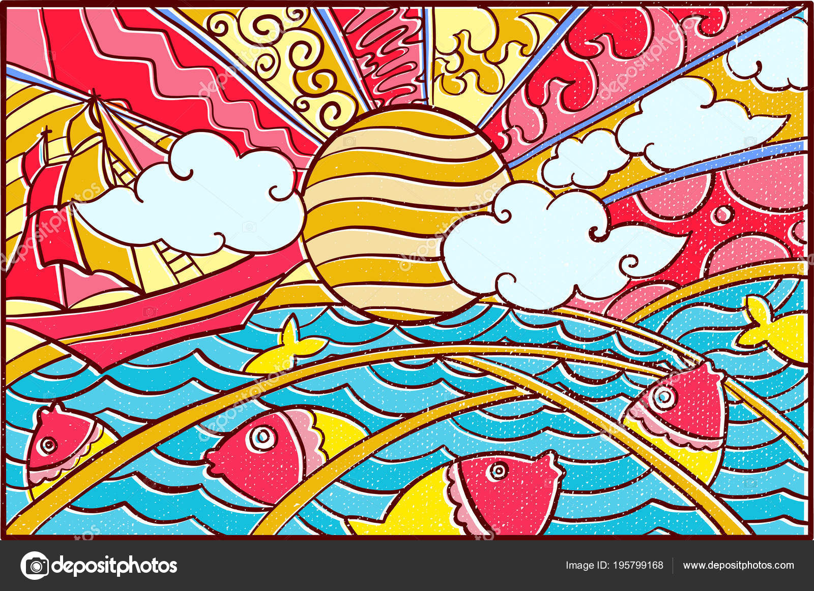 Sun Mosaic Art Hand Drawn Pop Art Wallpaper Mosaic