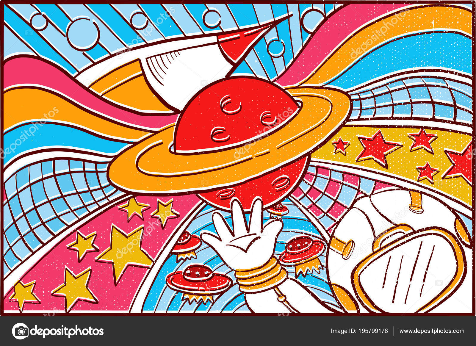 Hand Drawn Pop Art Wallpaper Mosaic Background Space Theme Rocket