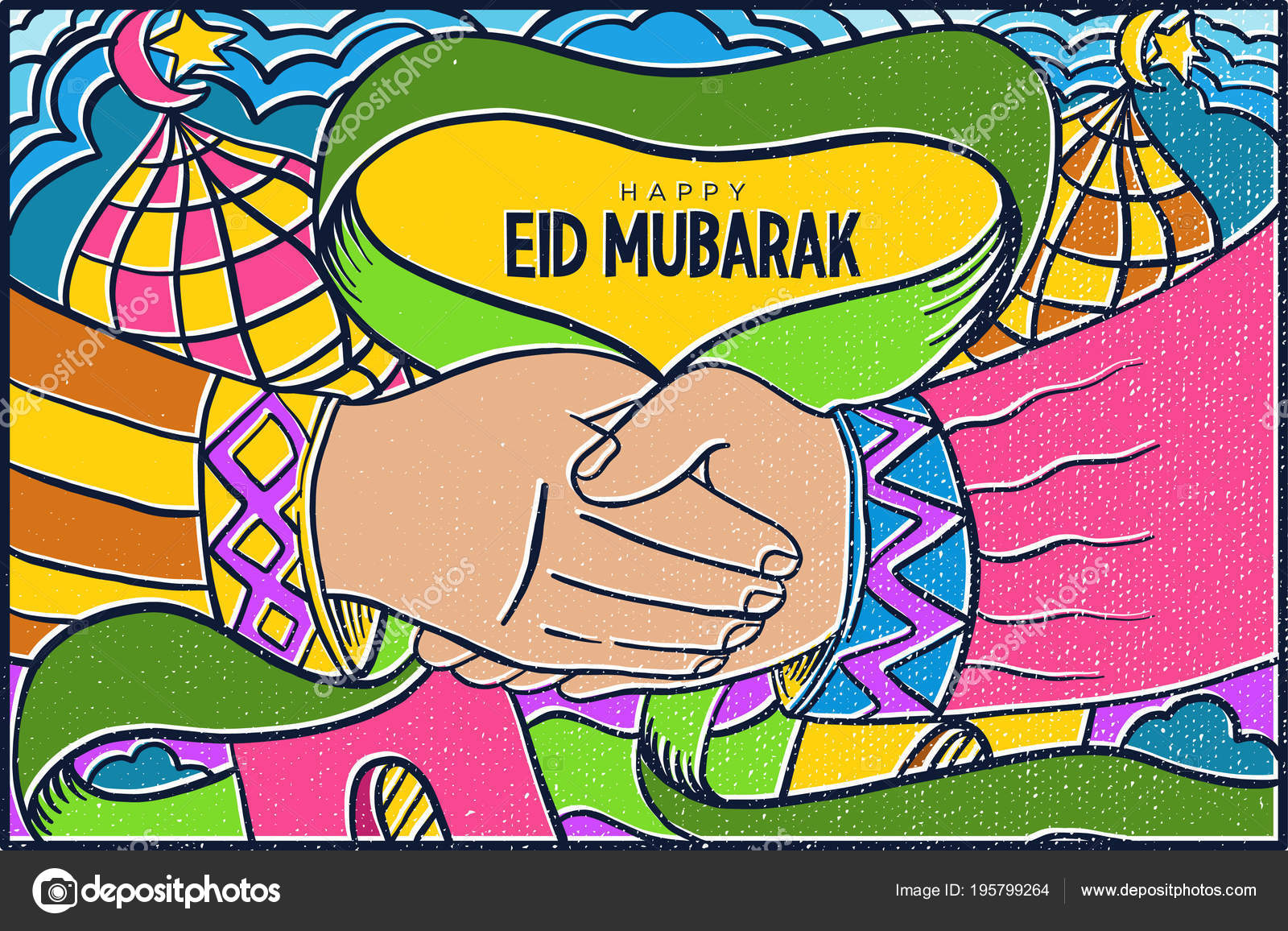 Eid Mubarak Eid Fitr Pop Art Wallpaper Mosaic Background