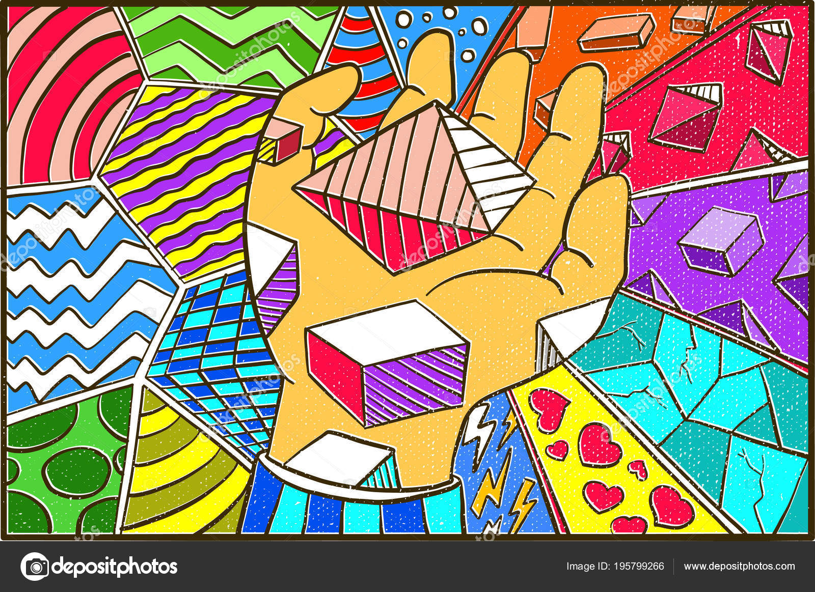 Hand Drawn Pop Art Wallpaper Background Holding Triangle Colorfull Stock Vector