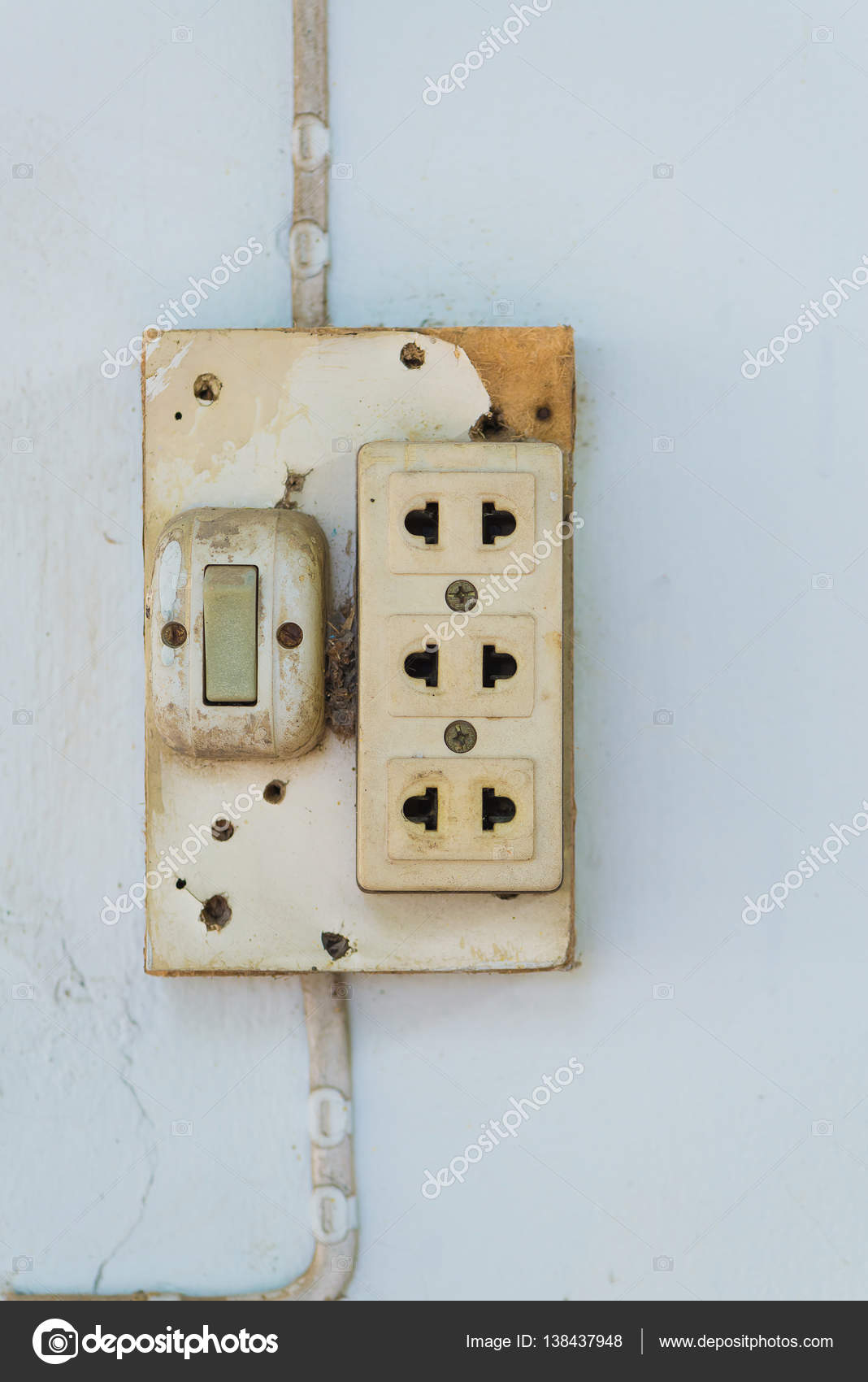 Close Up Of Old Socket Electrical Outlet On The Wall Stock Photo Home Wiring Plate Or By Pookpiik