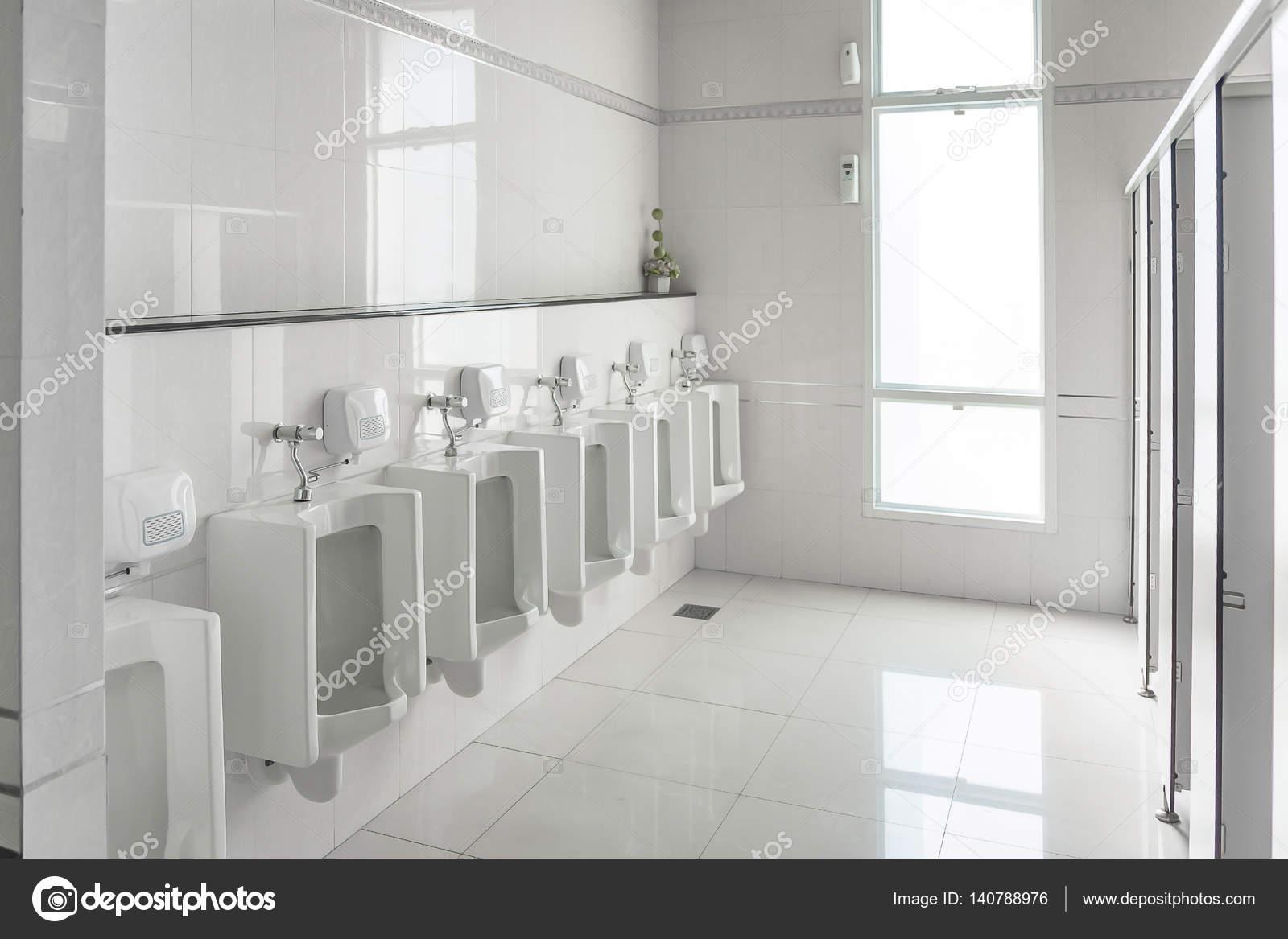 White urinals in clean men public toilet room empt — Stock Photo ...