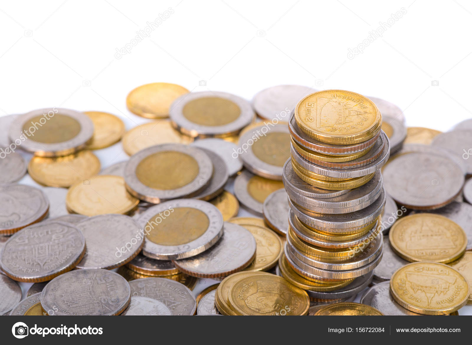 Columns Of Coins Piles Of Coins On White Background Stock