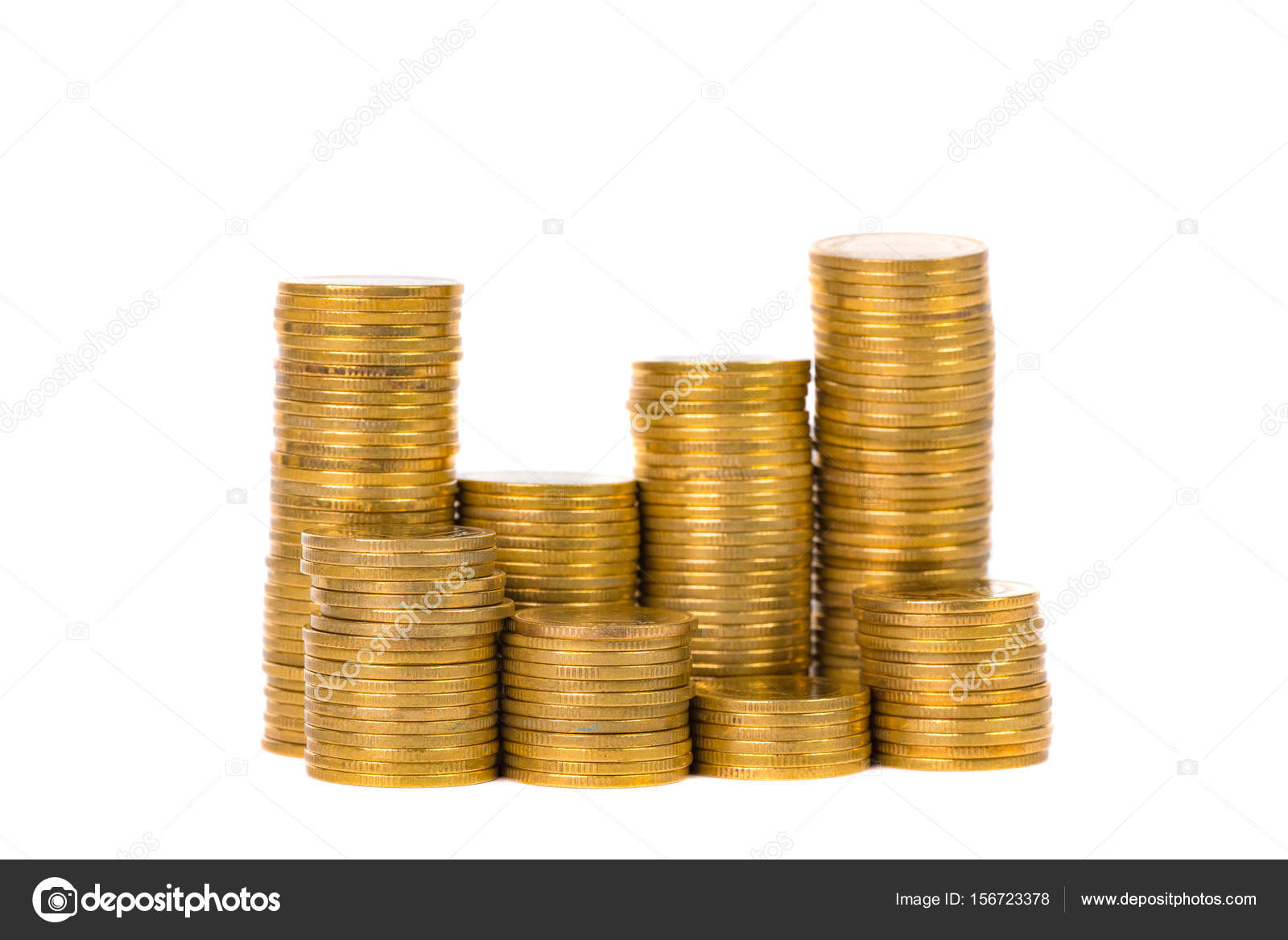 Columns Of Gold Coins Piles Of Coins On White Background