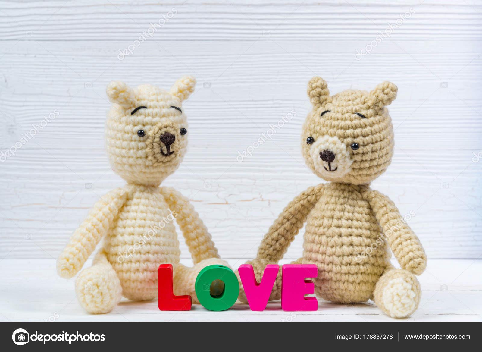 Muñeca de oso de peluche dulce pareja en amor con texto de amor y ...