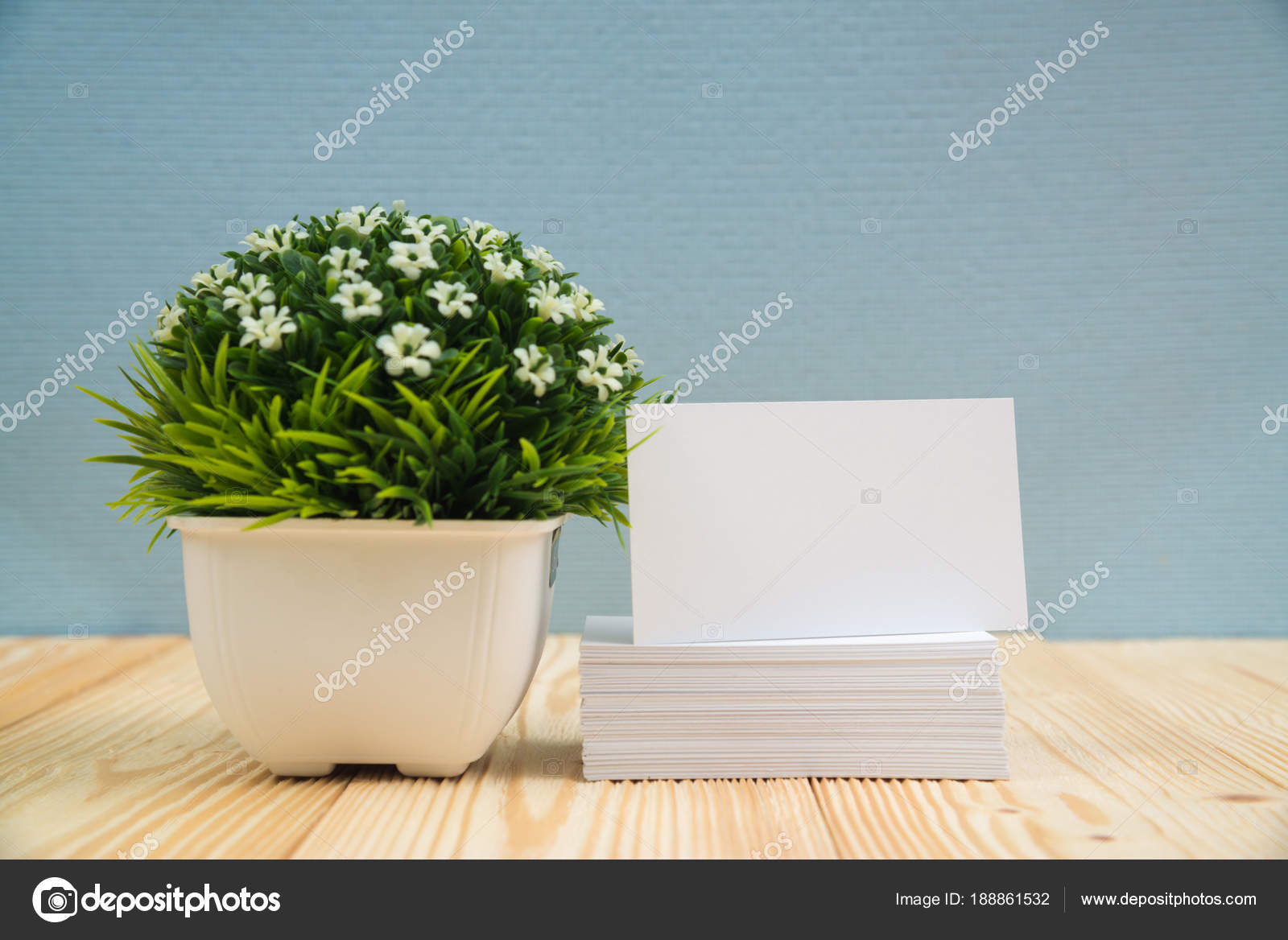 Blank business cards and little decorative tree in white vase on blank business cards and little decorative tree in white vase on wooden working table with copy space for add text id and logo business company concept reheart Image collections