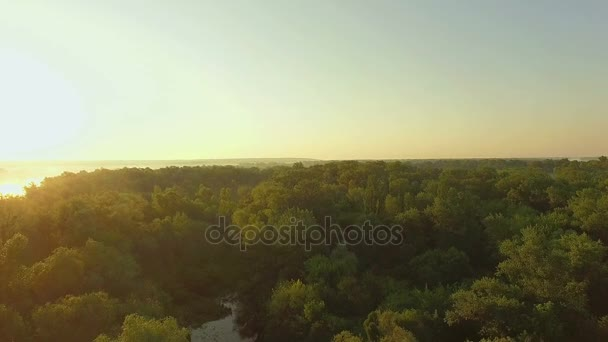orange sunrise on the river, 4K aerial view of morning mist at sunrise, orange rays of the sun through the morning mist on the river, Aerial view of mystical river at sunrise with fog
