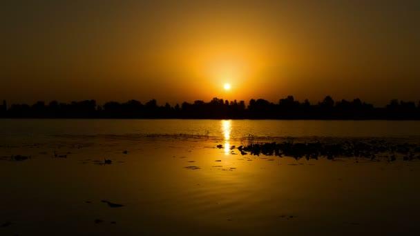 sunrise on the lake, sunrise over river, motorboat at sunrise, morning Landscape, 4K timelapse of sunrise at the river with water lily, 4K timelapse of sunrise over lake