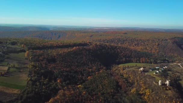 aerial view of old castle ruins in autumn, aerial view of autumn forest and old castle ruins,