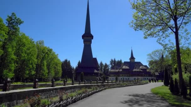 The Highest Wooden Church In The World, Aerial view of Sapanta-Peri Monastery, Bucovina  Romania, Wooden church UNESCO world heritage site, Religious symbol, Old wooden church and the gardens