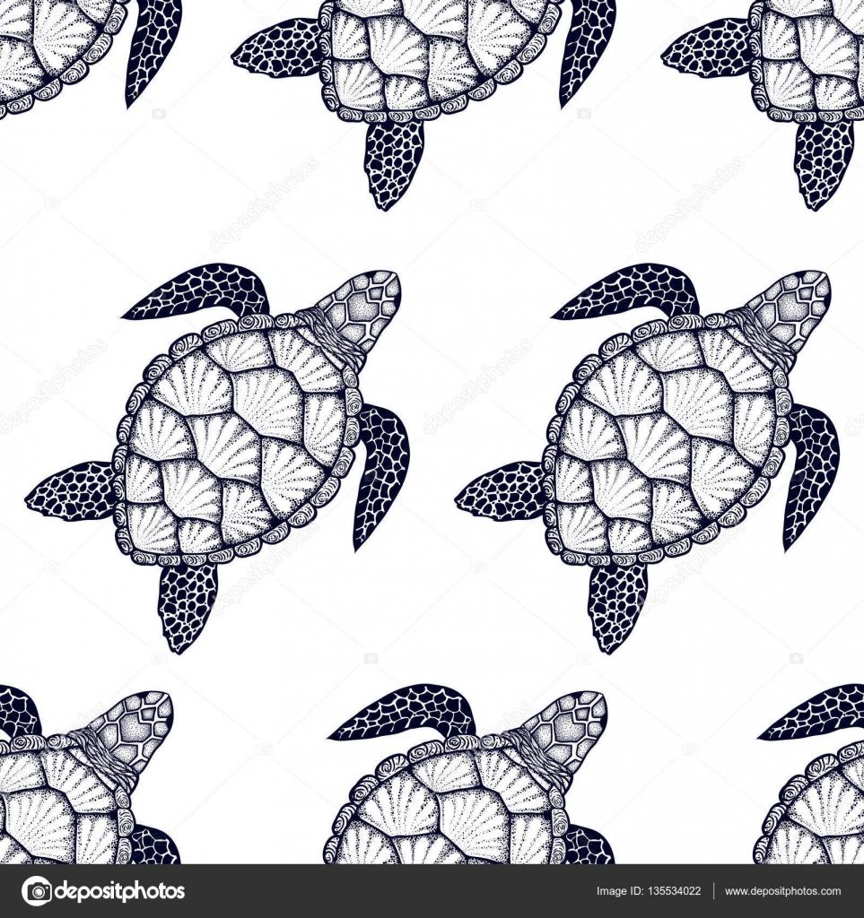 Deniz Kaplumbağası Hat Sanat Tarzı Ile Seamless Modeli El Vektör