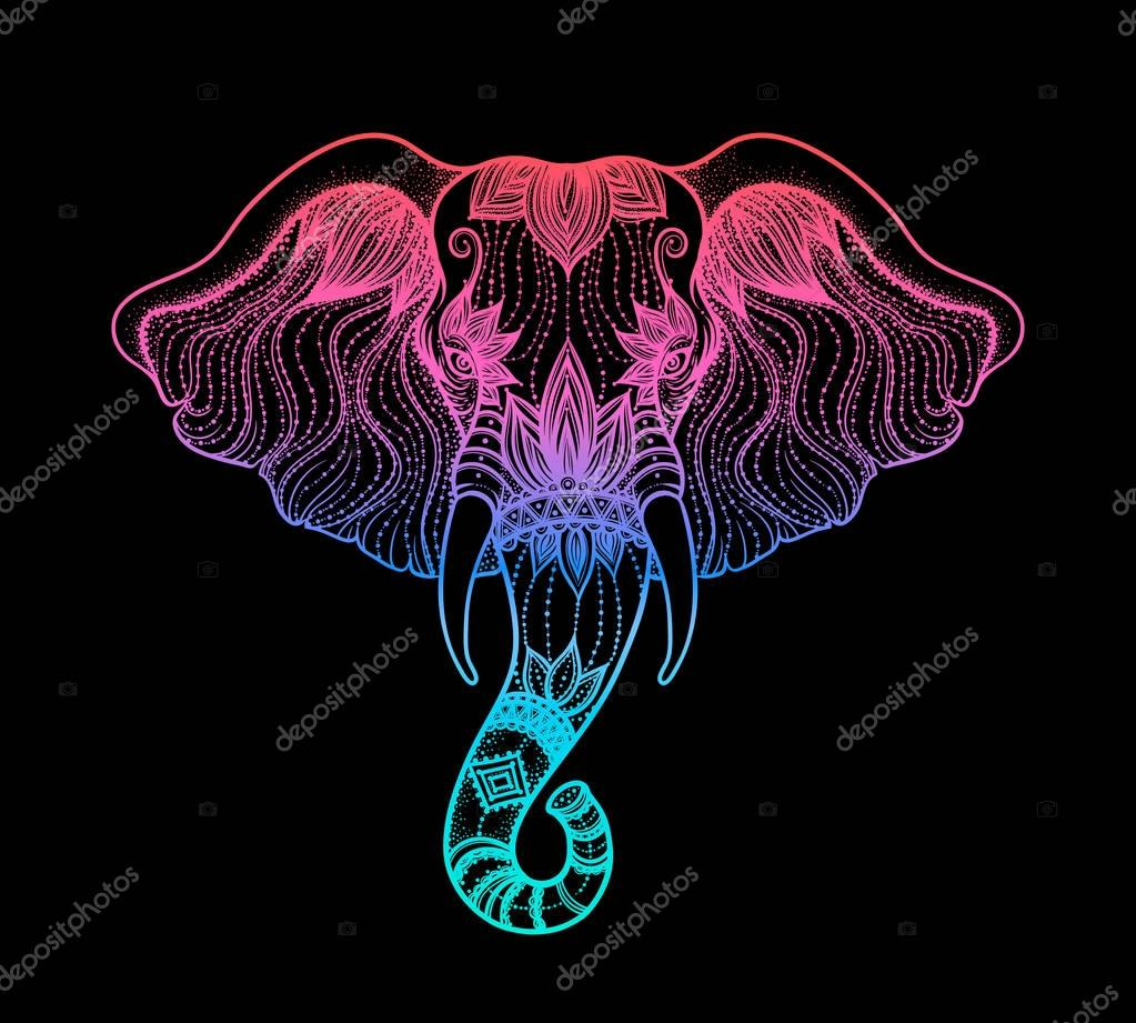 Head of a elephant line art boho design. Illustration of Indian God Ganesha. Vector