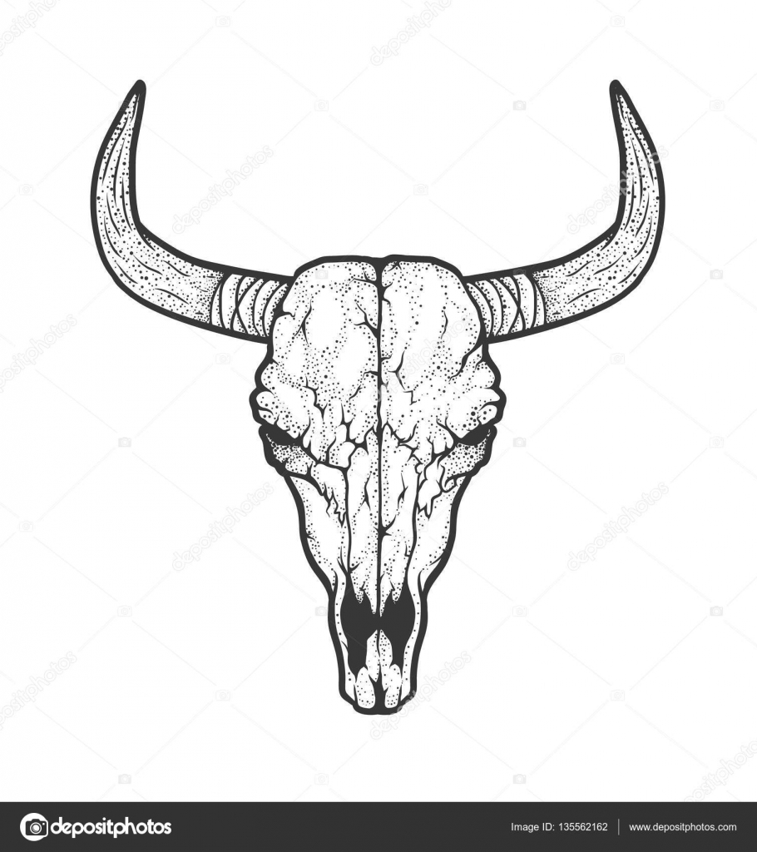 bull skull native americans tribal style tattoo blackwork vector