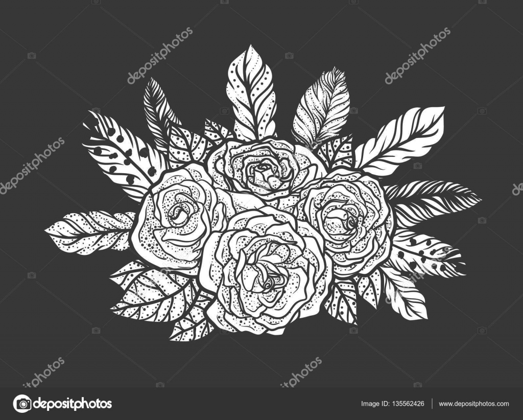 Blackwork Tattoo Of Rose And Feathers Bouquet Very Detailed Vector