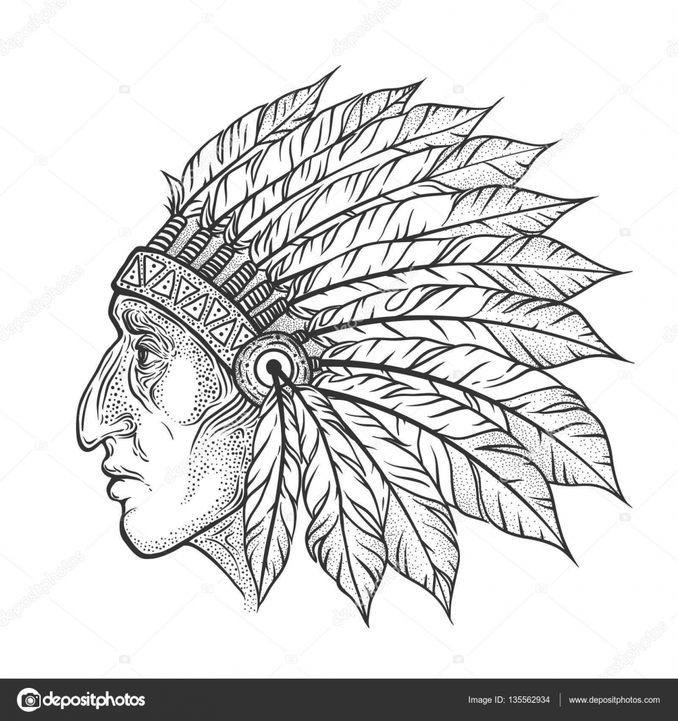 01ffdf73b6f90 Tattoo– stock illustration. Native American Indian chief head profile.  Vector vintage illustration. Hand drawn style. Bohemian