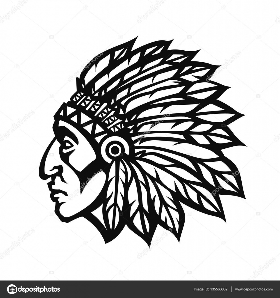 native american indian chief head profile mascot sport Indian Chief Clip Art Cherokee Indian Chief Logo