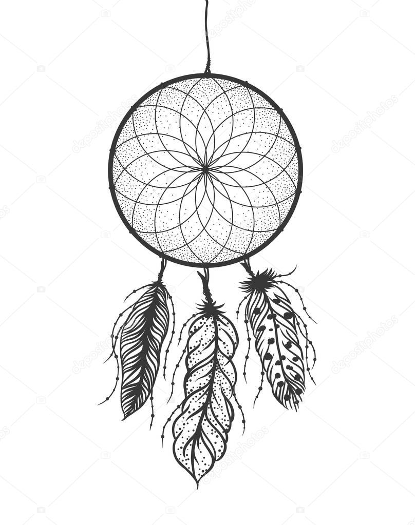 Dreamcatcher with detailed feathers. Boho style tattoo. Vector illustration