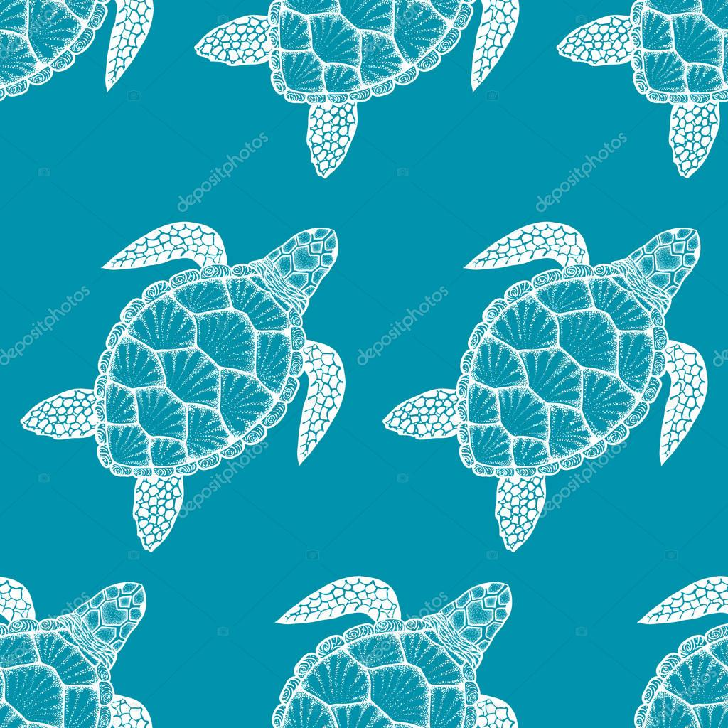 Seamless pattern with sea turtle in line art style. Hand drawn vector illustration. Ocean elements