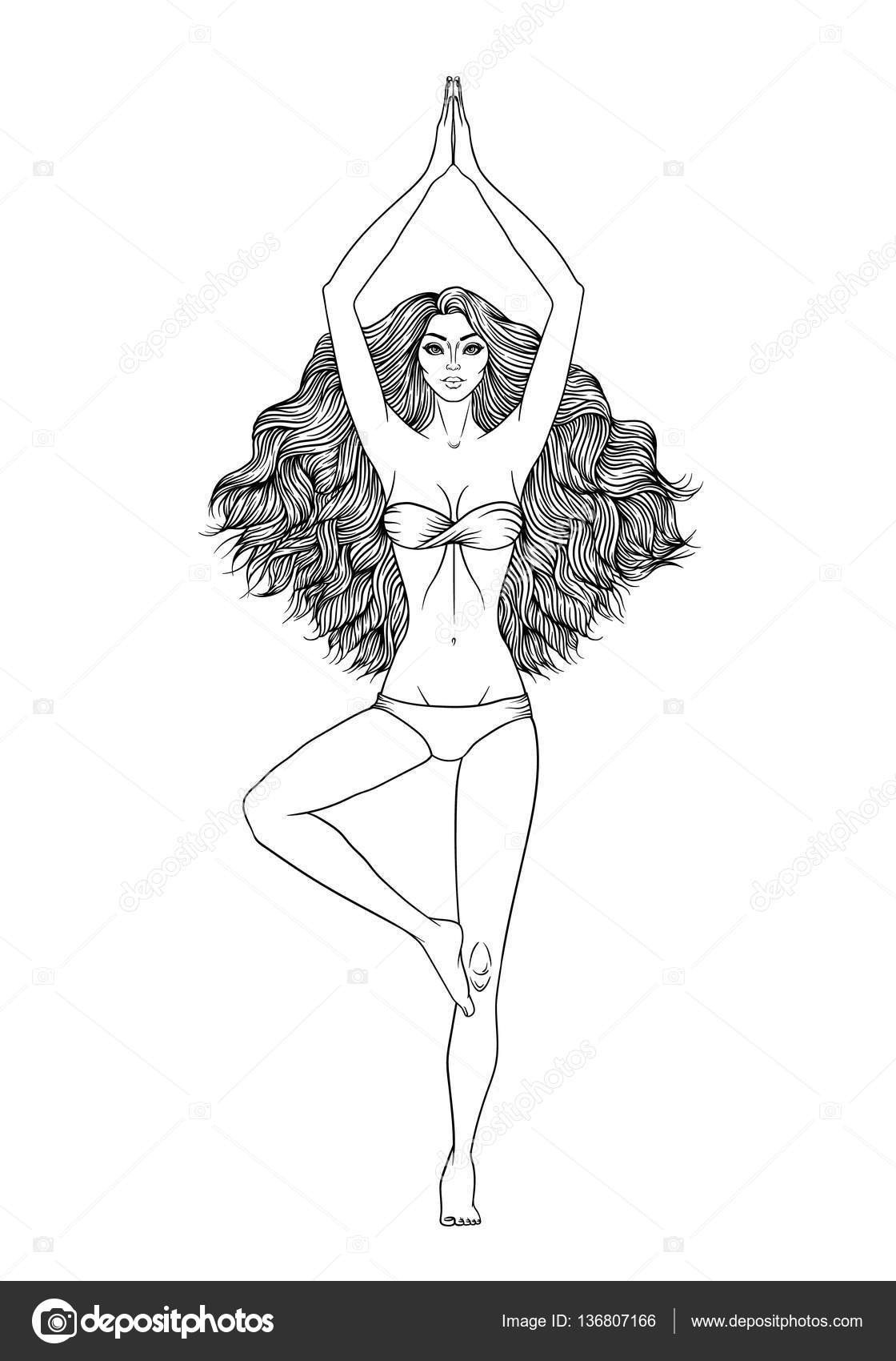 Yoga Woman Vector Illustration Pose Vrikshasana Girl Meditation Hand Drawn By Bigbaraboom