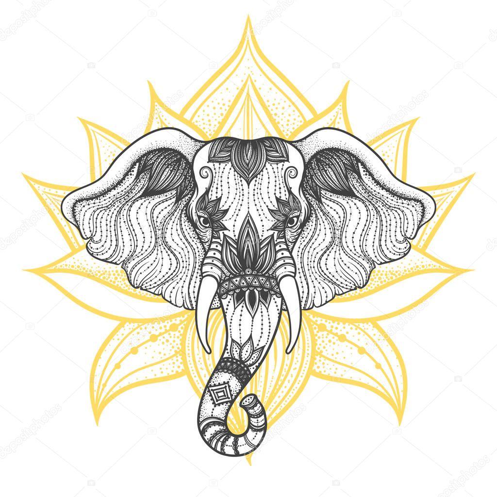 Head of a elephant boho design vector. Indian God Ganesha.