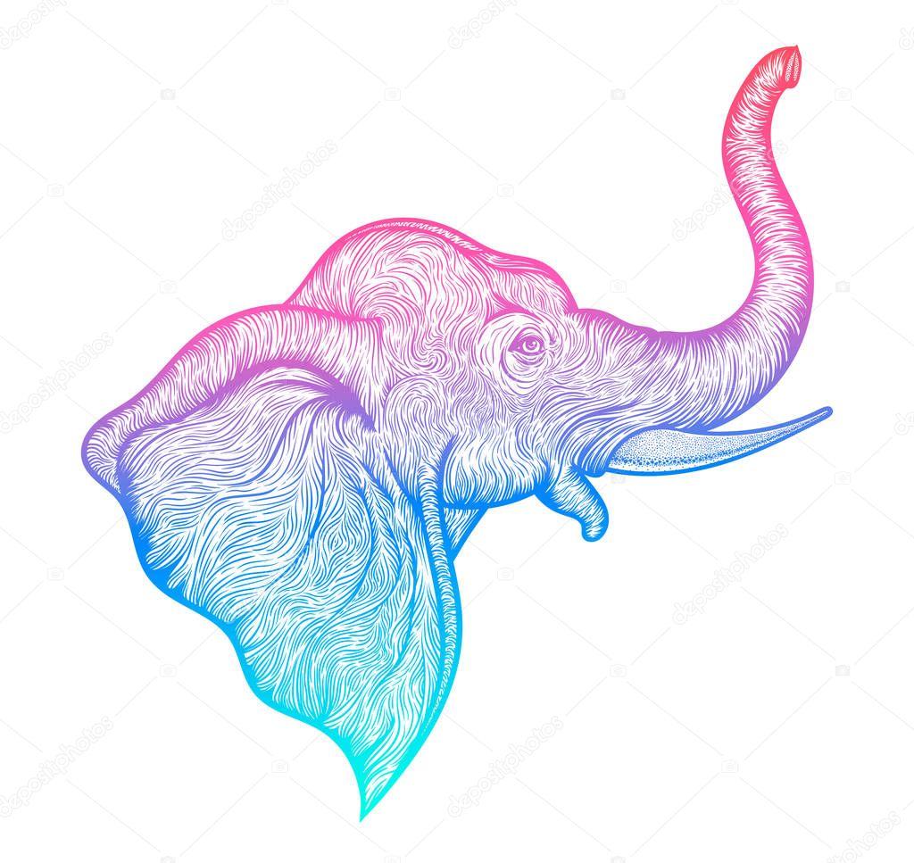 Head of a elephant in profile line art boho design. Illustration of Indian God Ganesha. Vector
