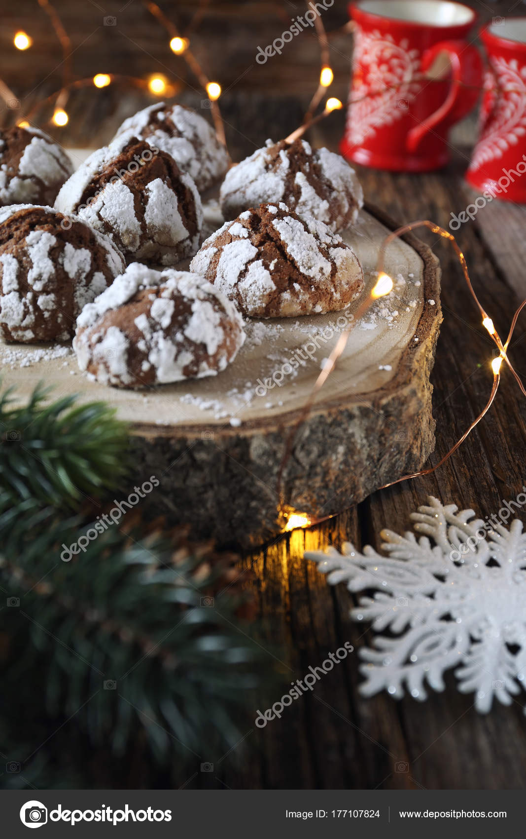 Chocolate Crinkle Cookies In Powdered Sugar And Christmas Decor