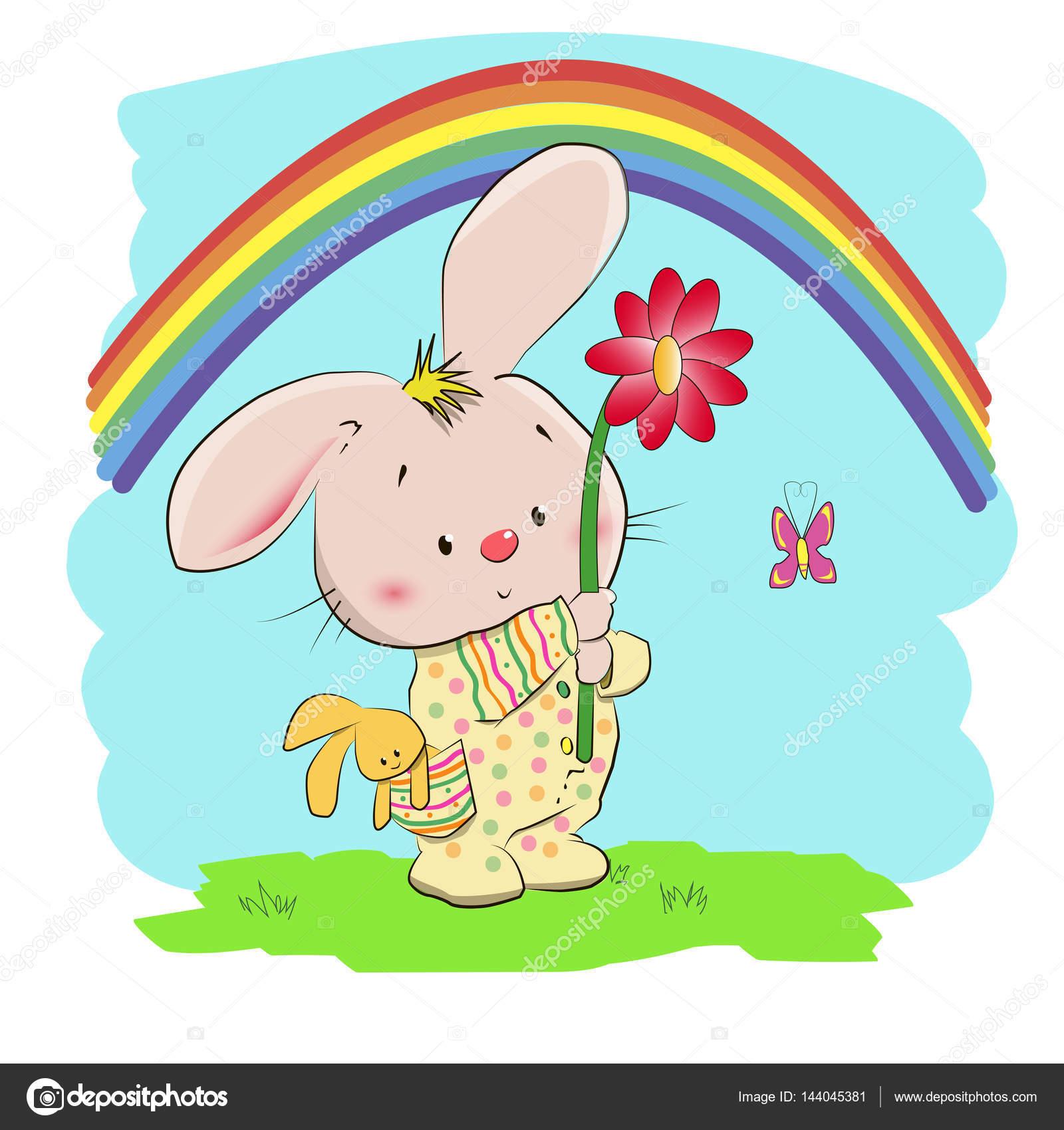 Un Petit Lapin Mignon Un Enfant Dessin Couleur Brillant Image