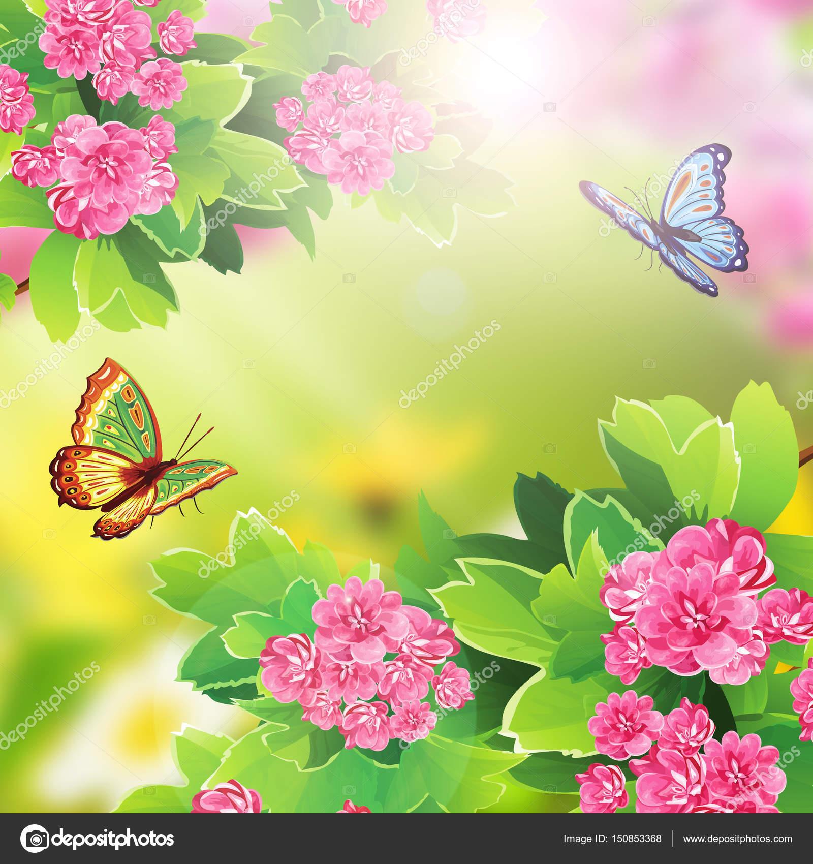 Sfondo floreale con fiori e farfalle foto stock for Sfondi con farfalle