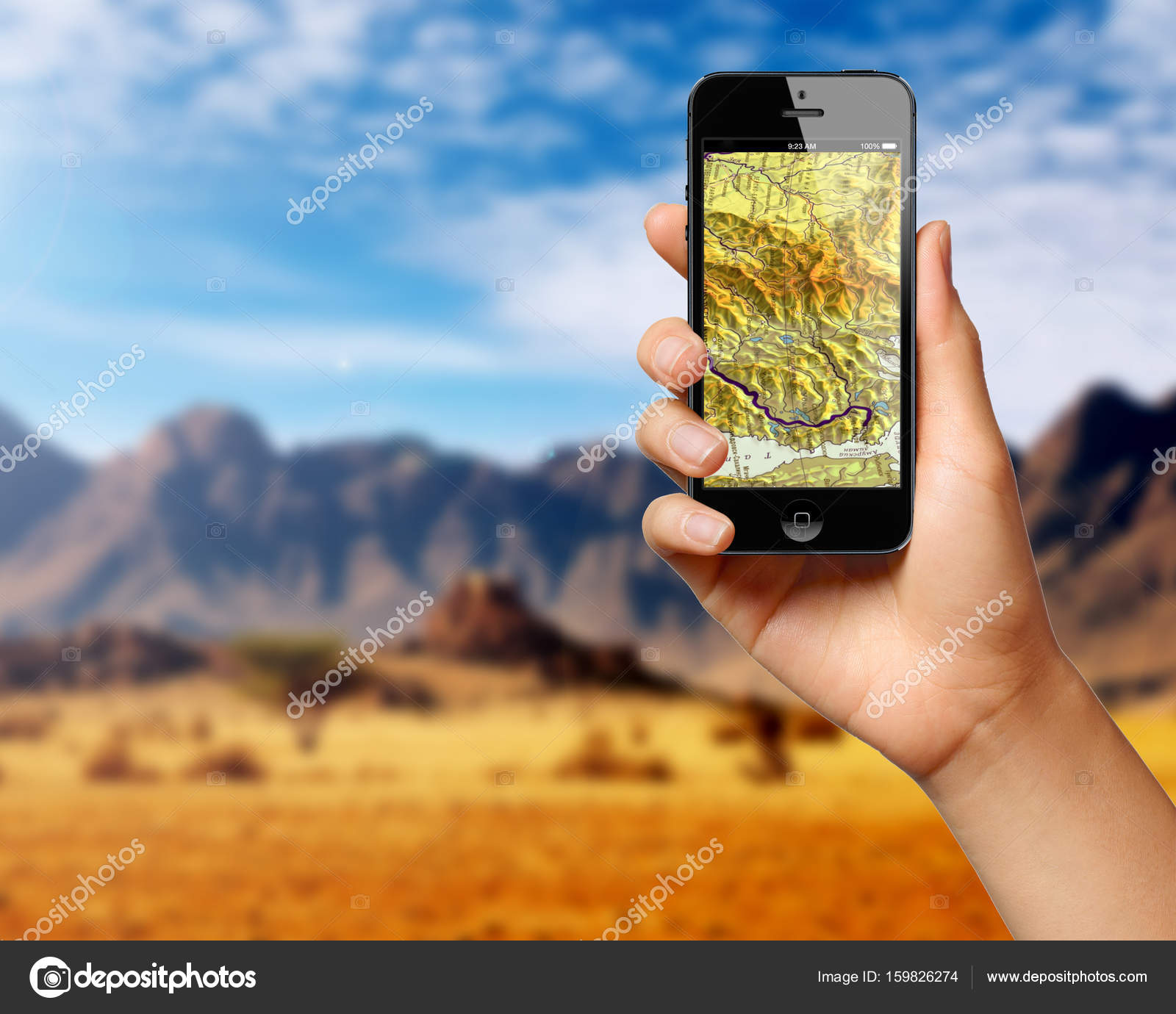 Application of satellite navigation on your phone to find a route