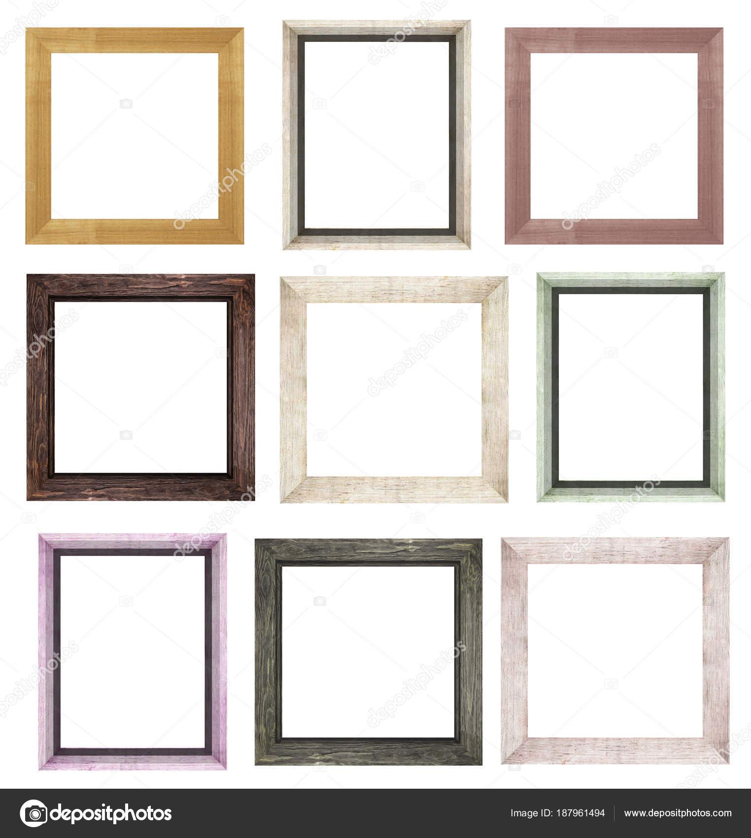 un conjunto de marcos de madera marrón para las imágenes y ...