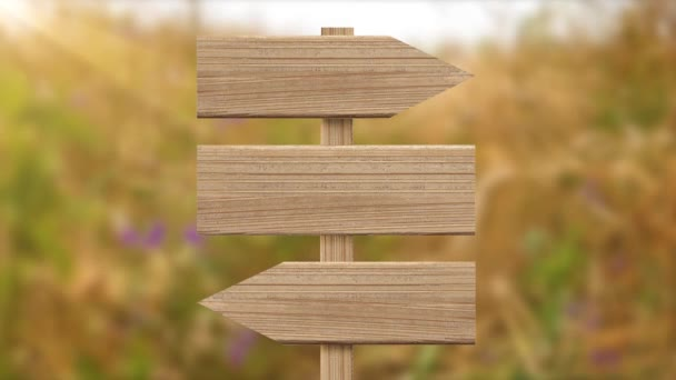 the signpost is made of light wood on an animated background of meadow flowers, grasses and sun glare