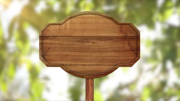 dřevěný ukazatel na animovaném pozadí olistění a slunečního svitu